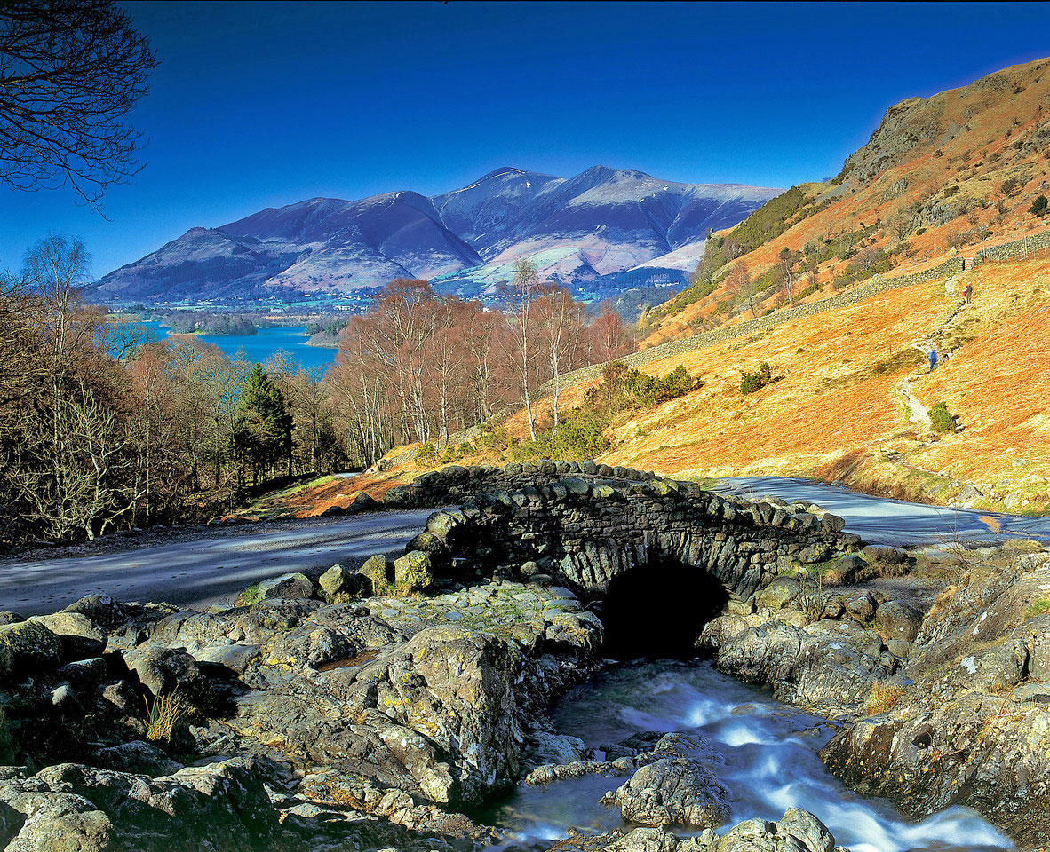 Looking over Ashness Bridge to Derwent Water and Skiddaw, the Lake District