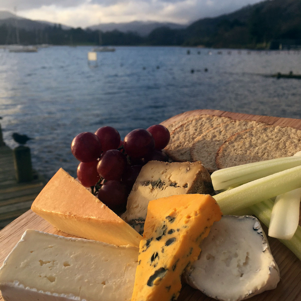Enjoy Waterhead's festive cheeseboard with fantastic views over Lake Windermere