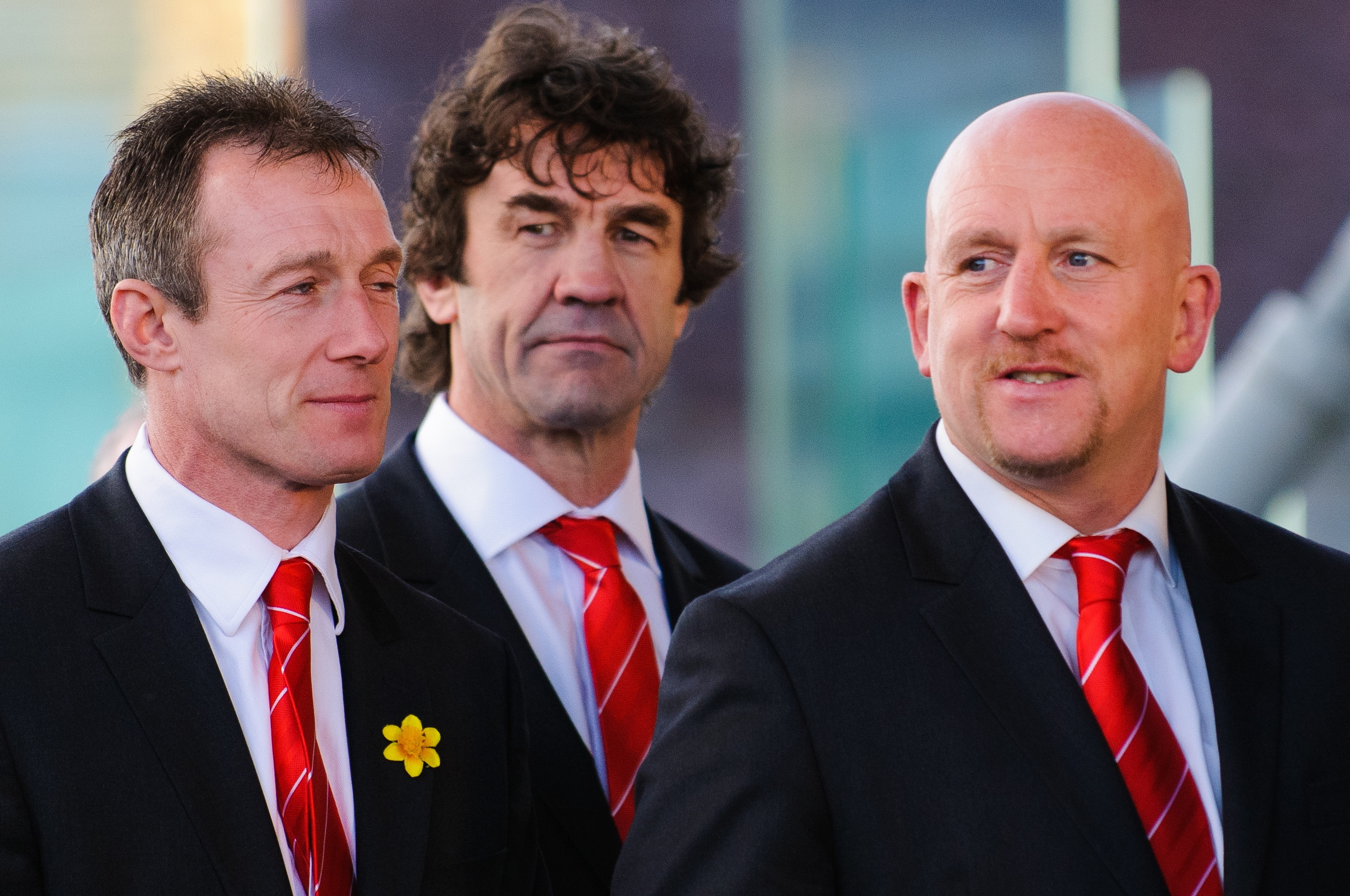 Robert Howley, Mark Davies and Sean Edwards arrive. Wales Grand Slam Celebration, Senedd 19 March 2012 / CC 2.0 Kafuffle