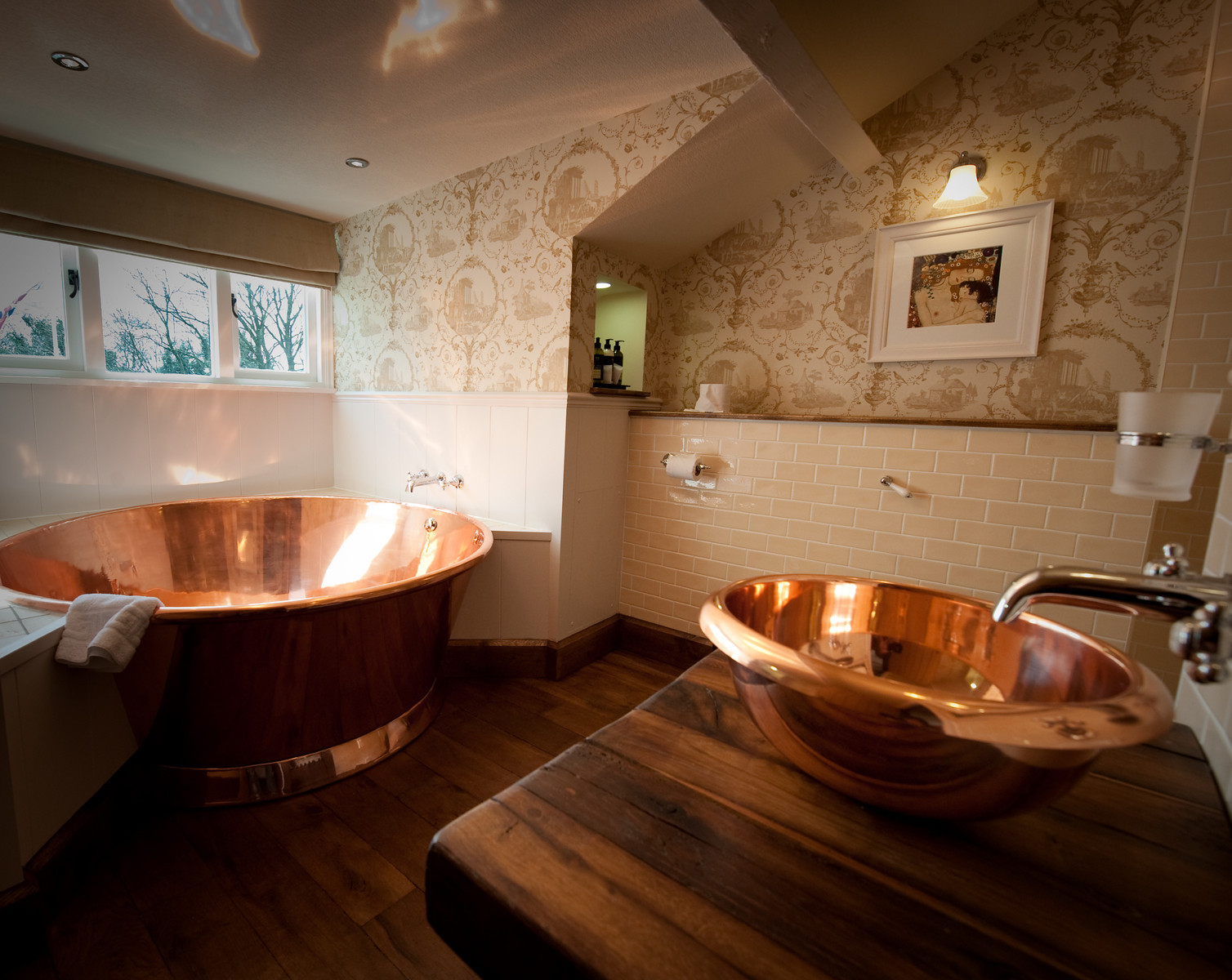 Large Copper Baths at The Wild Boar to relax before your big day