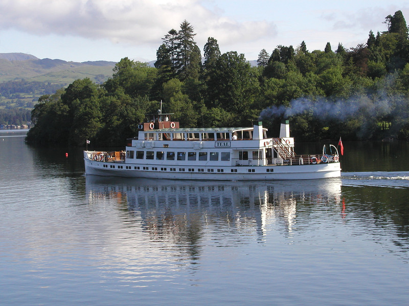 MV Teal on Windermere passing Cormorant Island